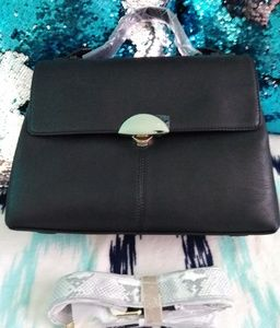 "Handbags - NWT ""Emma"" Black/Snakeskin Bag"